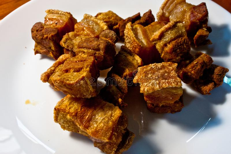 Salted crispy pork stock photo