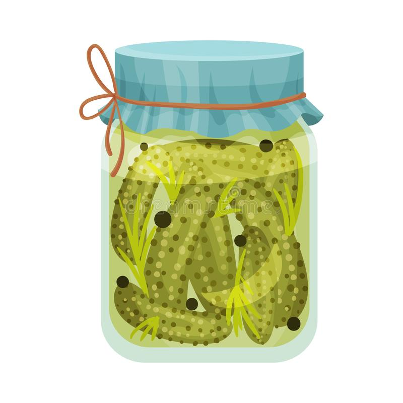 Salted cucumbers. Vector illustration on white background. Salted cucumbers in a glass jar with a blue lid. Vector illustration on white background royalty free illustration