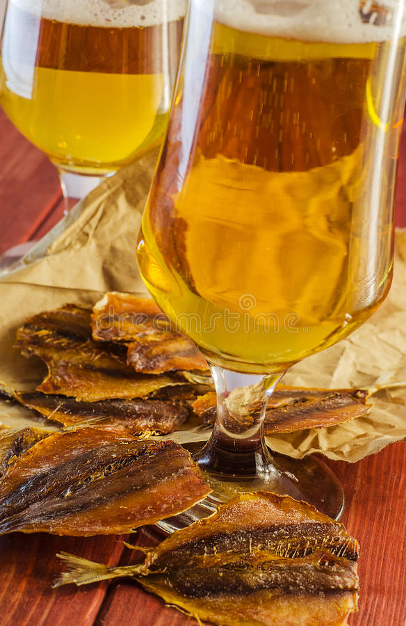Salted fish and beer royalty free stock photos