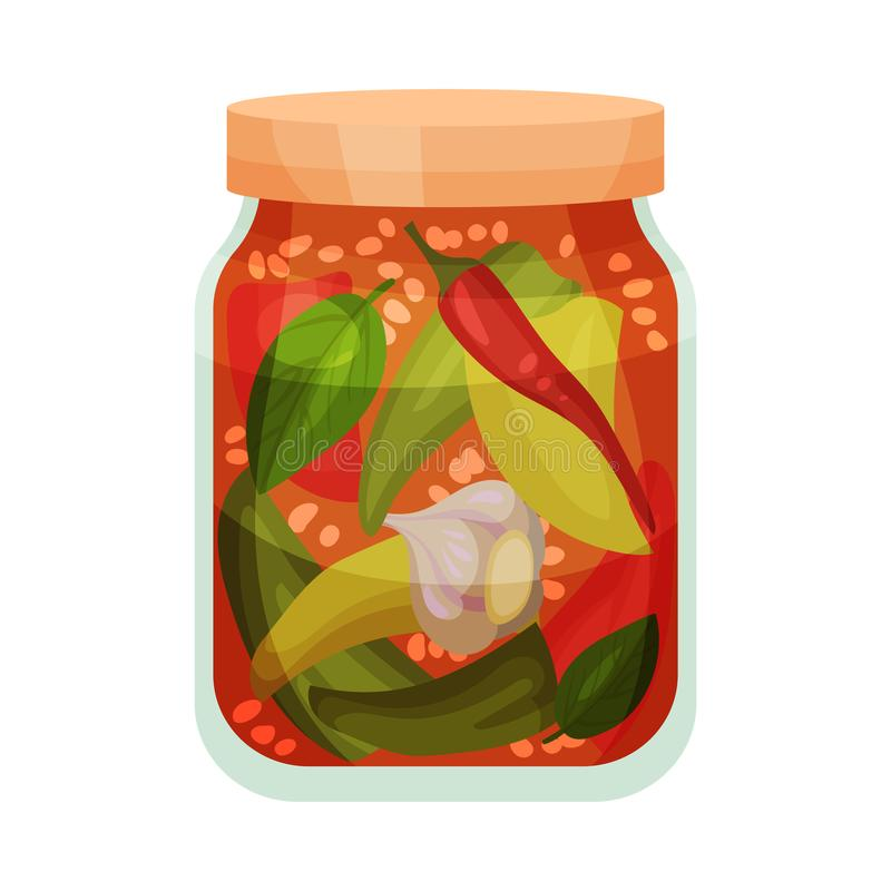 Salted vegetables in tomato sauce. Vector illustration on white background. Salted garlic and pepper in tomato sauce in a closed glass jar. Vector illustration royalty free illustration