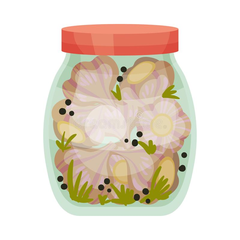 Salted garlic. Vector illustration on white background. Salty whole garlic in a jar with a red lid. Vector illustration on white background royalty free illustration