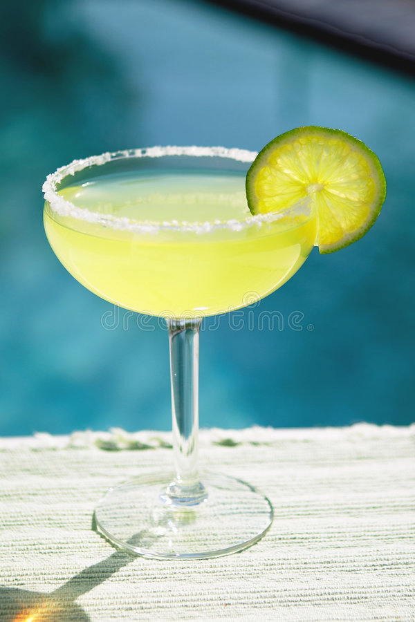 Salted Margarita Poolside stock photo