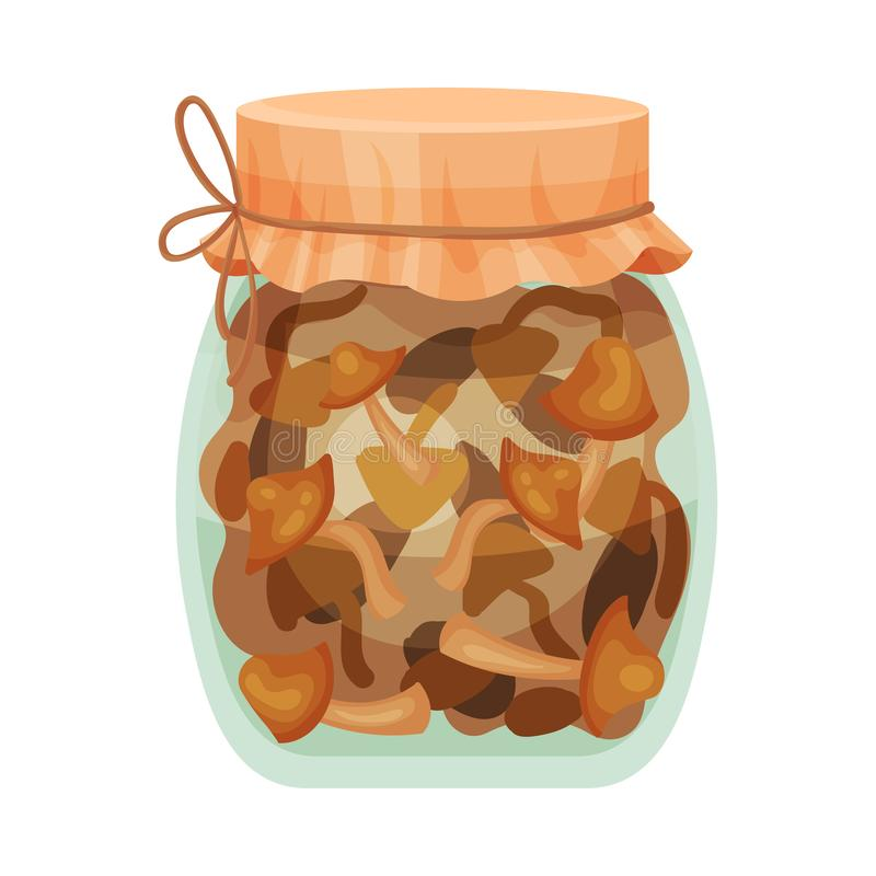 Salted mushrooms. Vector illustration on white background. Salted mushrooms in a glass jar with a brown lid. Vector illustration on white background royalty free illustration