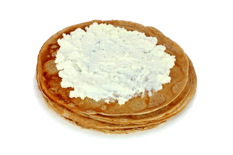 Salted pancake with cheese royalty free stock photography