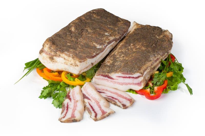Salted pork lard stock image