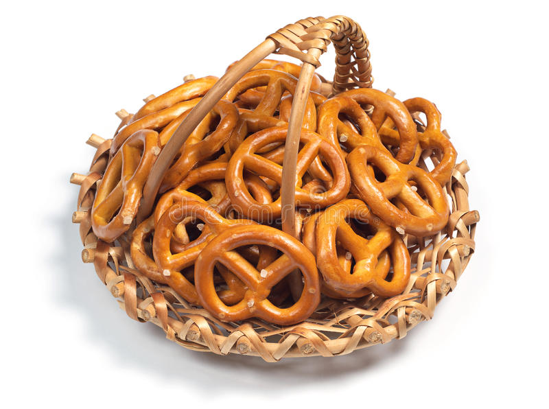 Salted pretzels in basket royalty free stock image