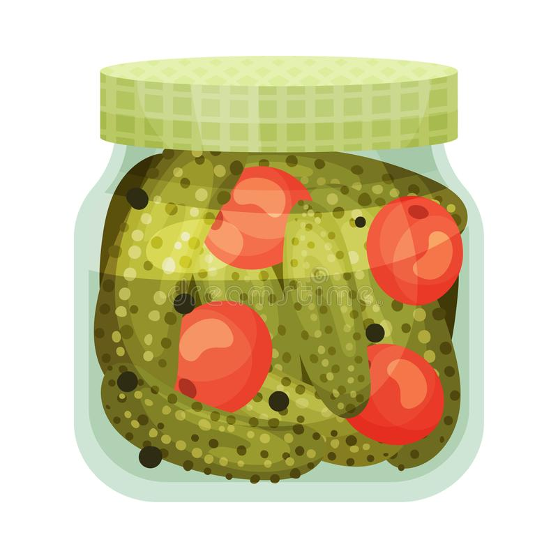 Salted tomatoes and cucumbers. Vector illustration on white background. Salted tomatoes and cucumbers in a closed glass jar with a green lid. Vector royalty free illustration