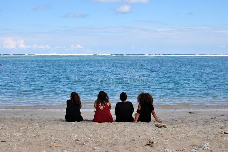 Salthaltiga les Bains, strand Reunion Island royaltyfri foto