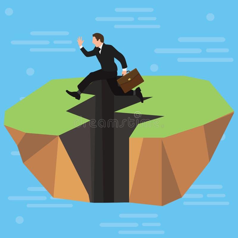 Salti in alto di un uomo d'affari sopra una spaccatura dentellata lunga di terremoto nella terra Affare e concorsi Sviluppo perso royalty illustrazione gratis
