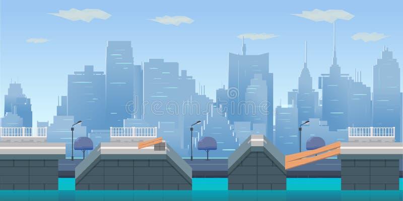 Salti il fondo del gioco della città royalty illustrazione gratis