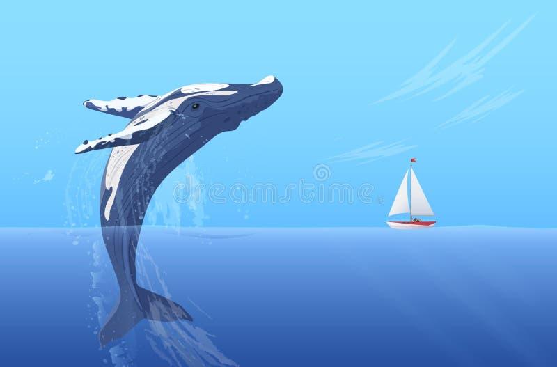 Salti la grande balena enorme a dorso d'asino vicino all'yacht della nave della piccola barca Potere nascosto dell'oceano illustrazione vettoriale