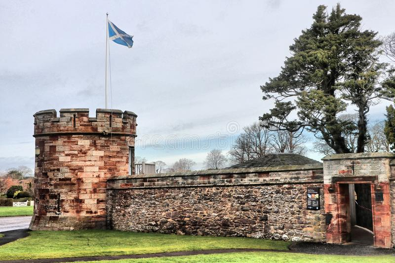 Saltire flying over Dirleton Castle stock photography