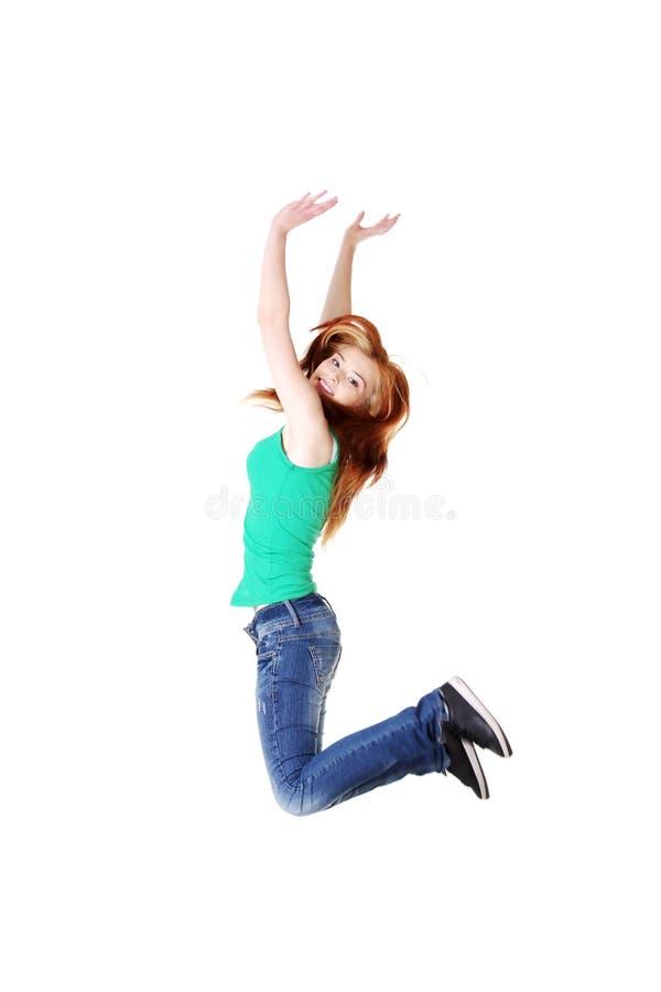 Salto Adolescente Dell Allievo. Fotografie Stock Libere da Diritti