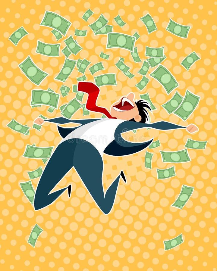 Salto afortunado del hombre de negocios libre illustration