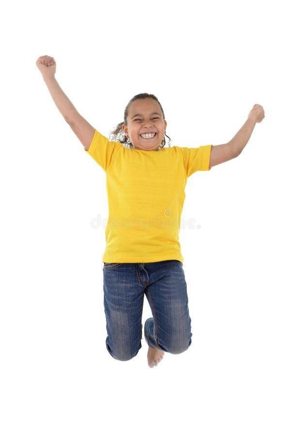 Salto alegre ativo da menina fotos de stock royalty free