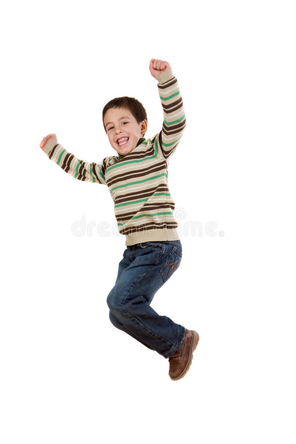 Salto alegre da menina foto de stock