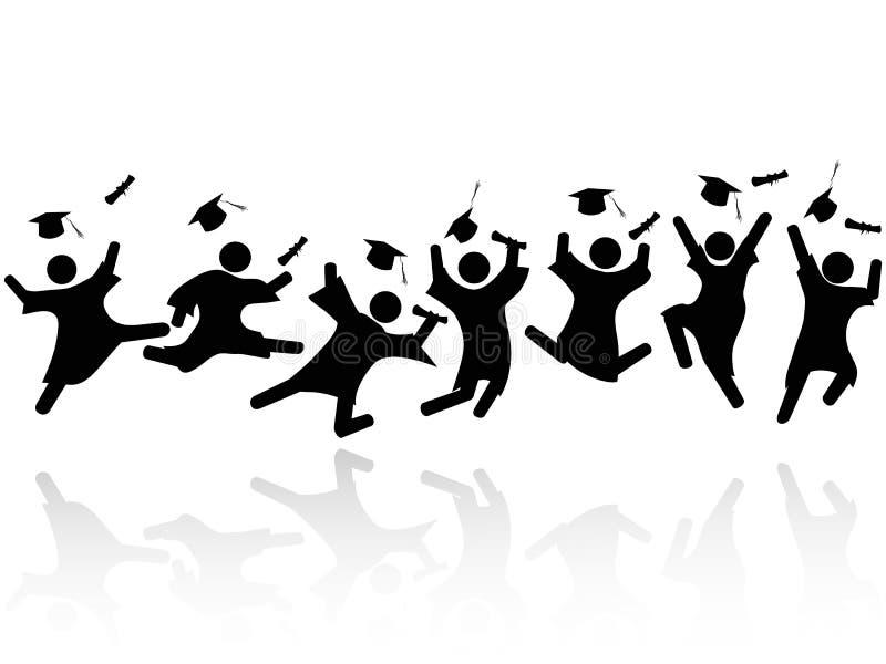 Salto alegre de los estudiantes graduados ilustración del vector