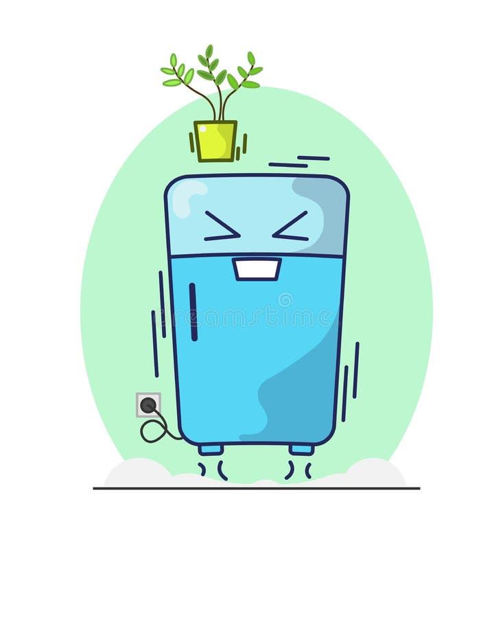 Salto alegre do refrigerador ilustração do vetor
