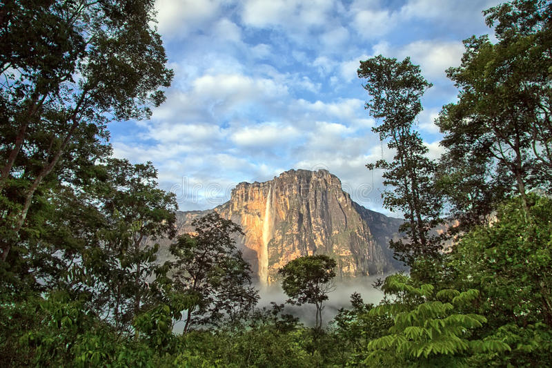 Salto Angel Falls in the soft light on early morning royalty free stock photography