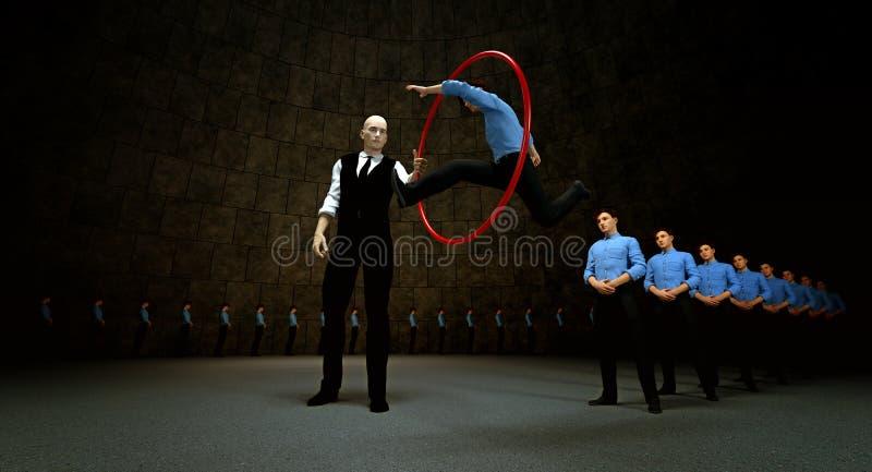 Salto através das aros ilustração do vetor
