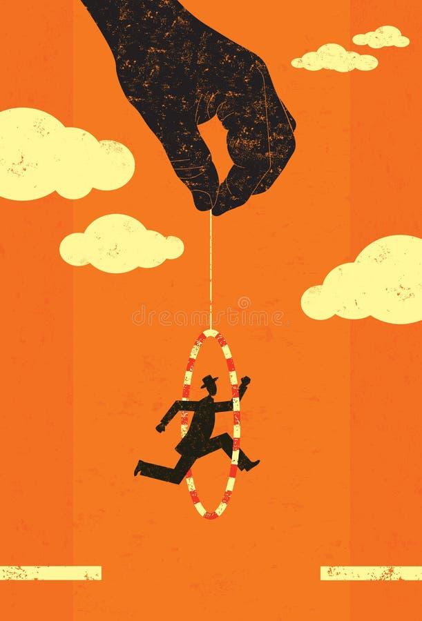 Salto através de uma aro ilustração stock