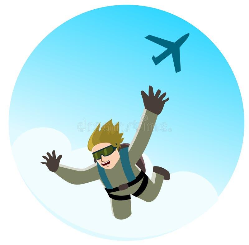 Salto con il paracadute illustrazione vettoriale