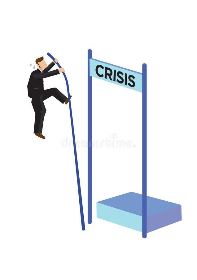 Salto con l'asta dell'uomo d'affari sopra la crisi Concetto di gestione di crisi, dell'arresto di riserva o del fallimento illustrazione vettoriale