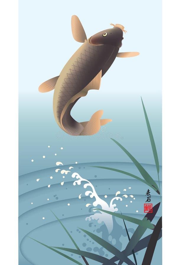 Salto da carpa ilustração stock