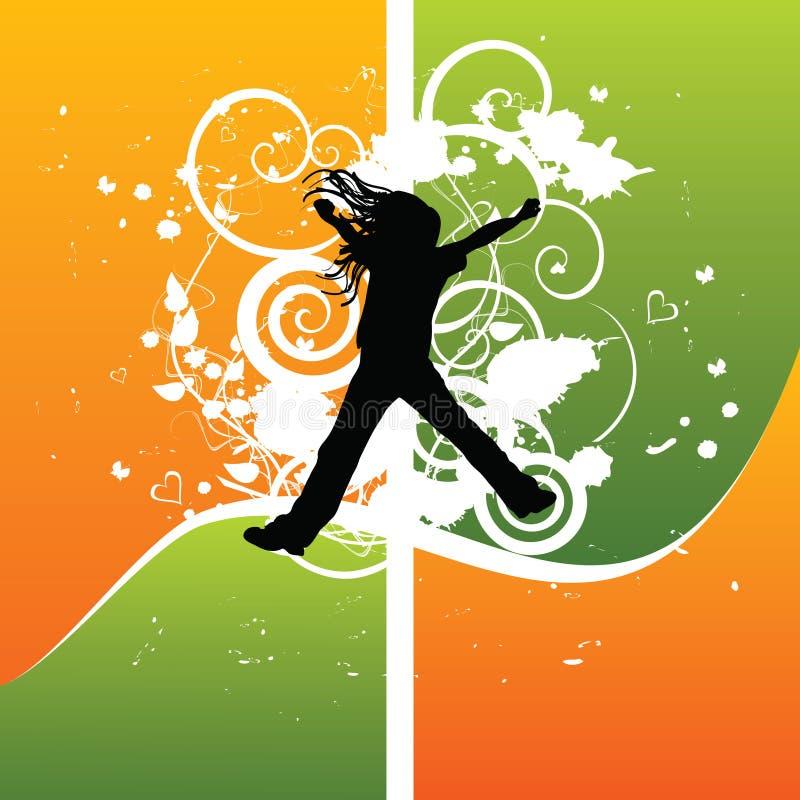 Salto da silhueta da menina da alegria ilustração stock
