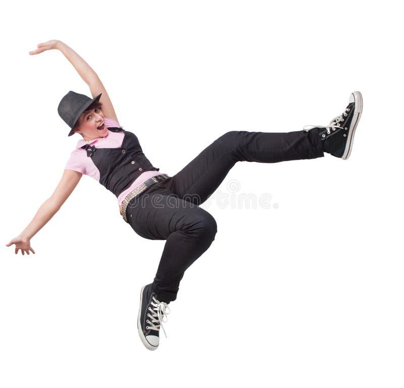 Salto da vitória da mulher adolescente livre feliz foto de stock royalty free
