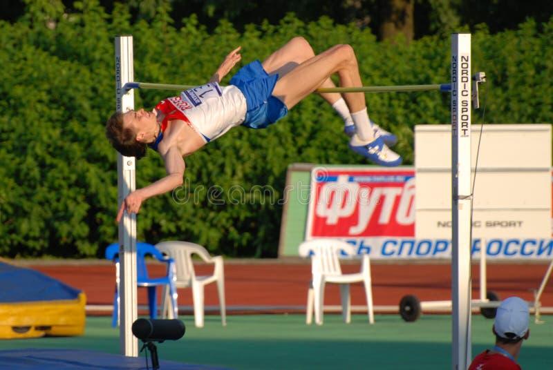 Salto de altura de Yaroslav Rybakov foto de archivo