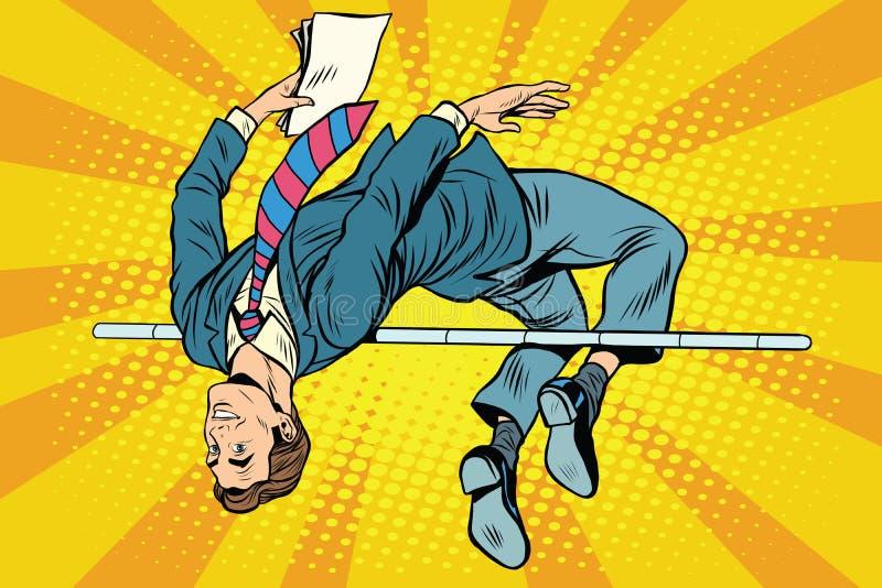Salto de altura del hombre de negocios stock de ilustración