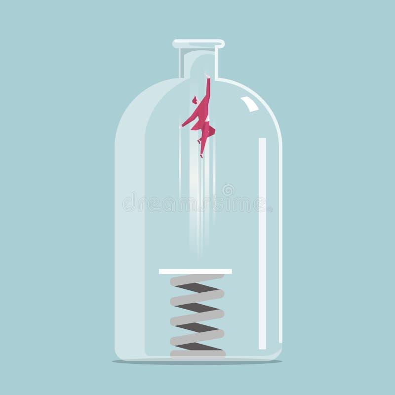 Salto de altura del hombre de negocios con el trampolín Escape la botella atrapada stock de ilustración