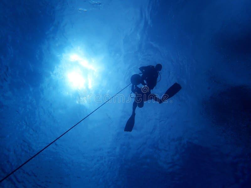 Salto de CESA con el buceador del agua abierta con el instructor foto de archivo