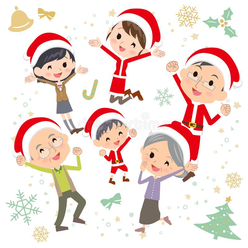 Salto de Christmas_gather de las generaciones de la familia tres ilustración del vector