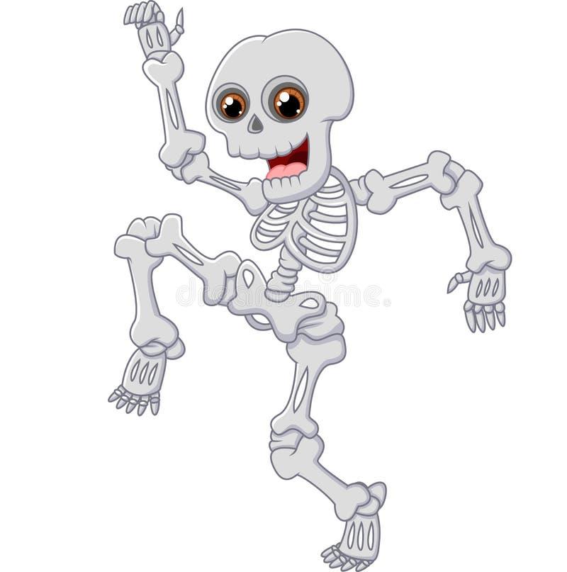Salto de esqueleto de Dia das Bruxas com dança no fundo isolado ilustração royalty free