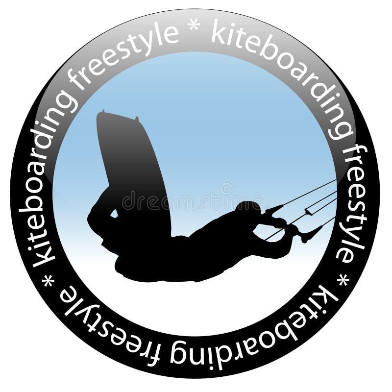 Salto de Kiteboarding, estilo livre Rider Icon ilustração do vetor