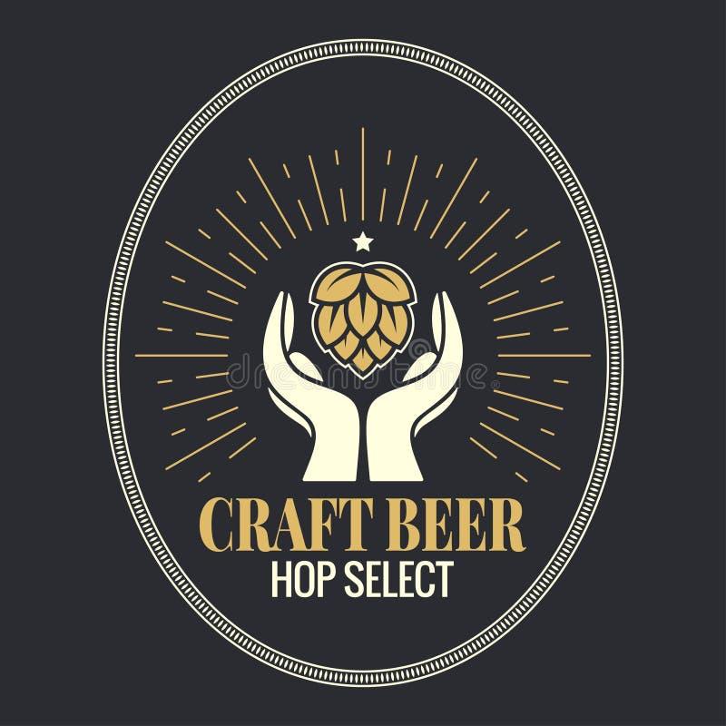 Salto de la cerveza en logotipo del vintage de las manos en fondo negro libre illustration