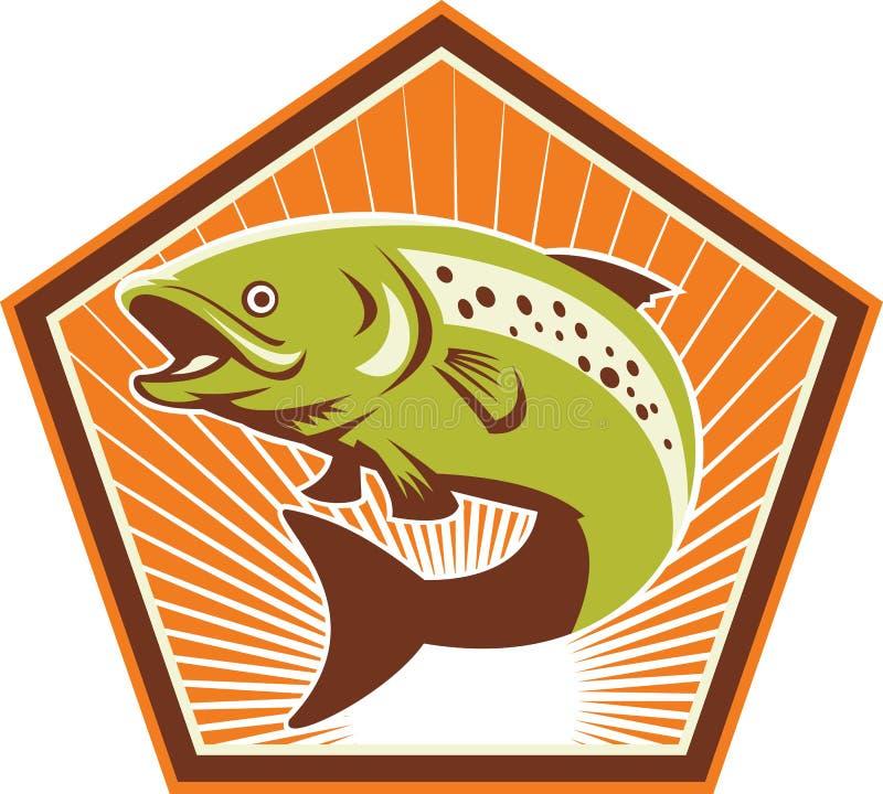 Salto de los pescados de la trucha retro stock de ilustración