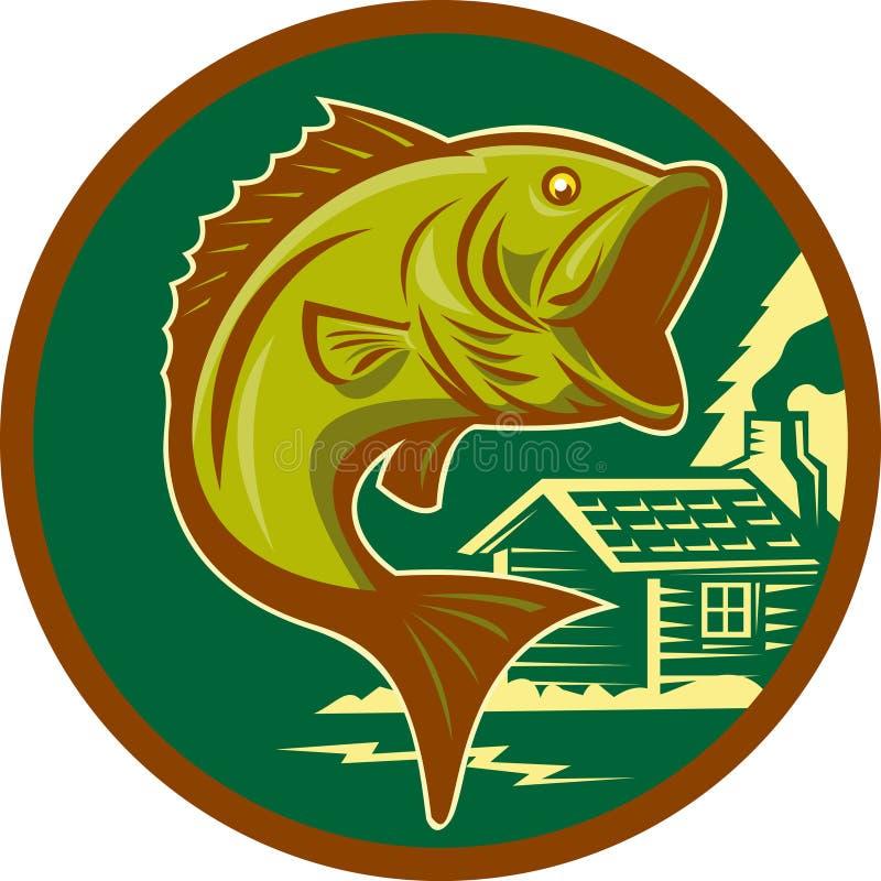 Salto de los pescados del bajo bocazas stock de ilustración