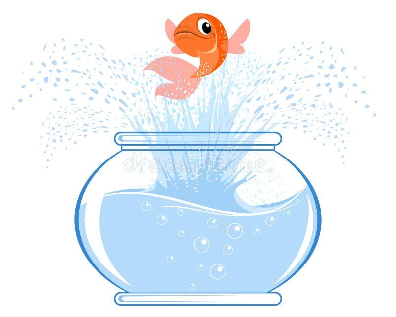 Salto de los pescados del oro ilustración del vector
