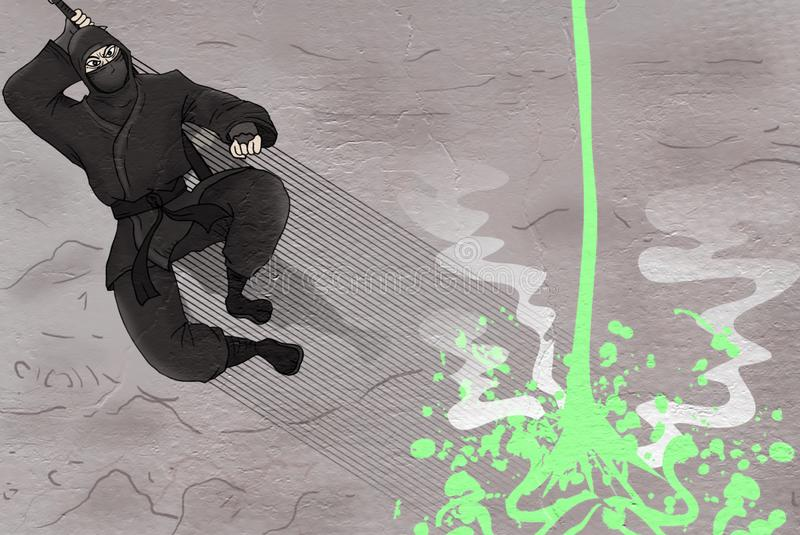 Salto de Ninja e líquido verde ilustração royalty free