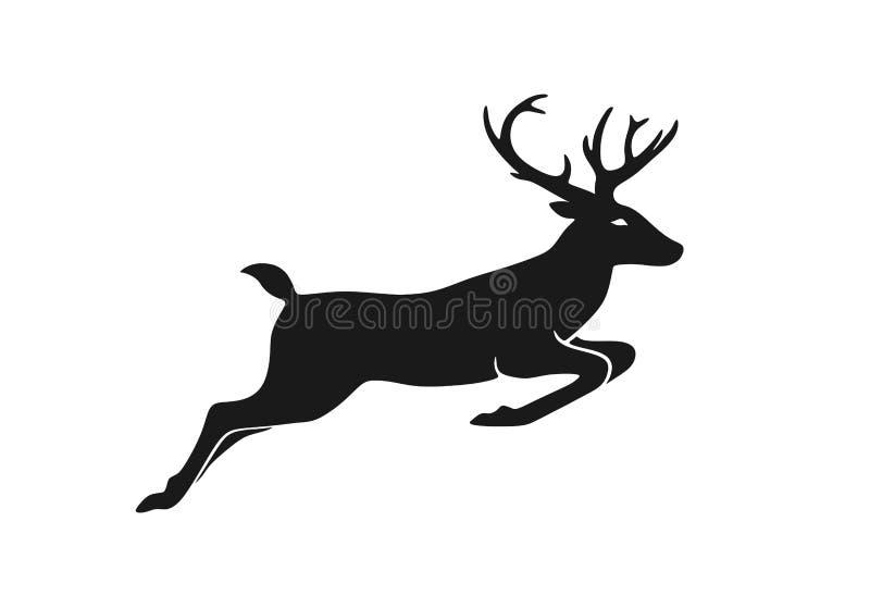 Salto de veado elemento do desenho do Natal Símbolo de Natal imagem da silhueta de vetor isolada ilustração stock
