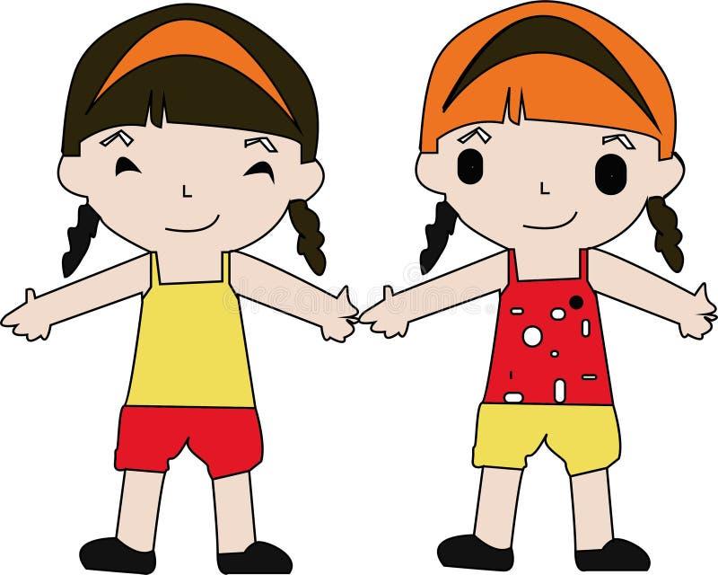 Salto dei bambini del fumetto Illustrazione di clipart di vettore con le pendenze semplici ciascuno su uno strato separato - Vect illustrazione di stock