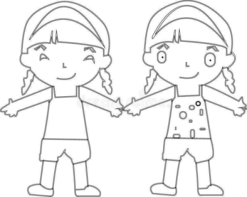 Salto dei bambini del fumetto Illustrazione di clipart di vettore con le pendenze semplici ciascuno su uno strato separato - Vect illustrazione vettoriale