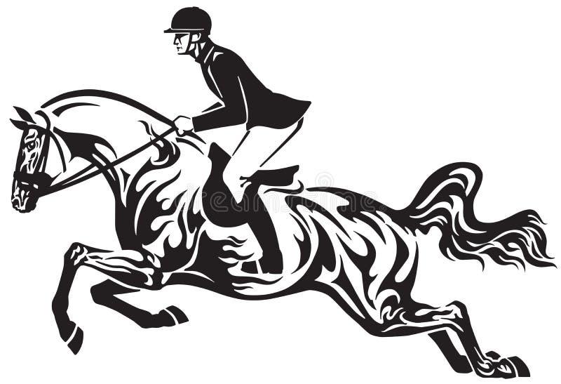 Salto del concorso ippico di sport equestre tribale royalty illustrazione gratis