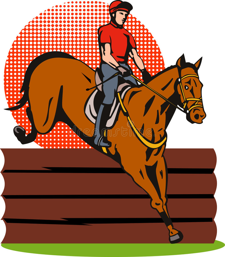 Salto Del Equestrian Y Del Caballo Fotografía de archivo libre de regalías