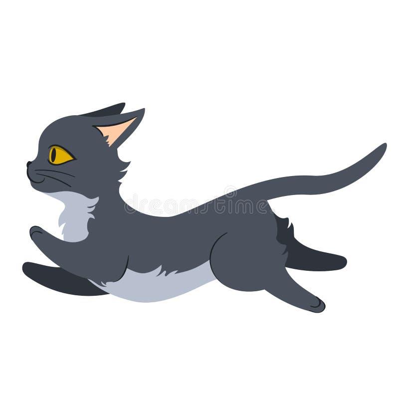 Salto del gato gris stock de ilustración