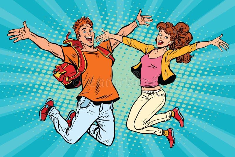 Salto del hombre joven y de la mujer de los pares del amor ilustración del vector