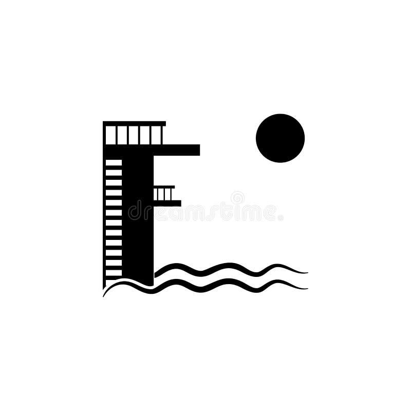 Salto del tablero La piscina y un icono del trampolín Icono simple de los días de fiesta de la playa Icono del elemento del viaje ilustración del vector